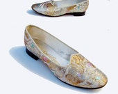 60s vintage Daniel Green Gold Lame Flats Sparkle Holiday Glam 5.5 M