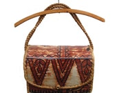 Vintage Boho Woven Basket Purse Cloth and Straw Vinyl Covered  .. Roomy ..