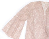RESERVED 60s Vintage Glydons Hollywood Floor Length Robe Allover LACE Pale Pink Small Medium