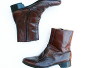 "70s Vintage Boots Mens 9 D Leather Ankle Boot ""Mod Squad"""