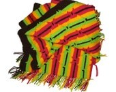 Vintage Crochet Afghan Bright Colors Nearly Neon Afghan Blanket Stripes Bold Bright Colors