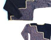 80s Vintage Handmade Sweater .. Zig Zag .. Chenille Boucle Lurex Boxy Cropped size Wmns Medium M