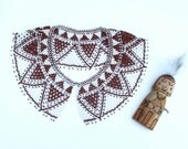 Vintage Indian Beaded Collar Necklace Brown and White