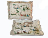 Hand Painted Folk Art Wood Trays signed Benito set of two Very Old