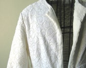 Here comes the Bride in her Floor Length Cotton LACE ROBE 50s Vintage    Wear over a dress or negligee SiZE XXS or XS