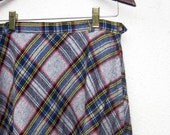 Mad for Plaid 70s Vintage Bias Cut Wool Skirt size 10 Summit Sportswear fits like a 4 6