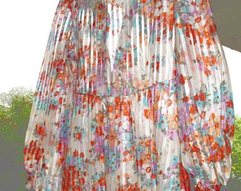 Sheer Floral Ribbons 60s Vintage Saks Dress size Small size 2 4 6
