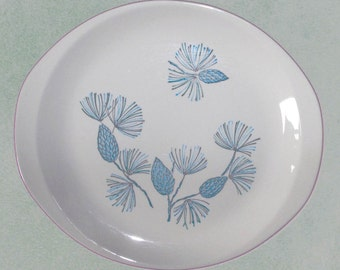Blue Spruce Marcrest Oval Serving Platter Mid Century Dish Aqua Pinecones Mint Condition