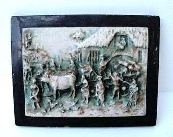 Bas Relief Plaster Art Olde World Village Scene 6 by 5 inch