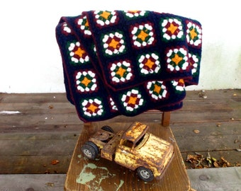 Lambswool Afghan Thick Felted Wool Granny Square Lap Blanket, Boho Chic Decor