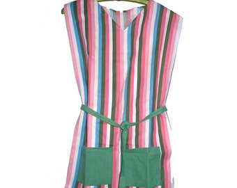 60s Vintage Cotton Smock Apron Bright Stripes