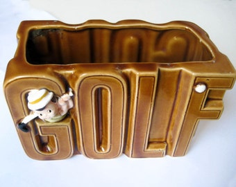 Fathers Day Gift 1978 Enesco Planter with little Golf Pro Butterscotch Ceramic