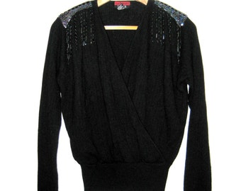 80s Vintage Lambswool Angora Sweater L, Wrap Sweater Black Beaded, Deep V Neck Jumper, Laura Peterson Large