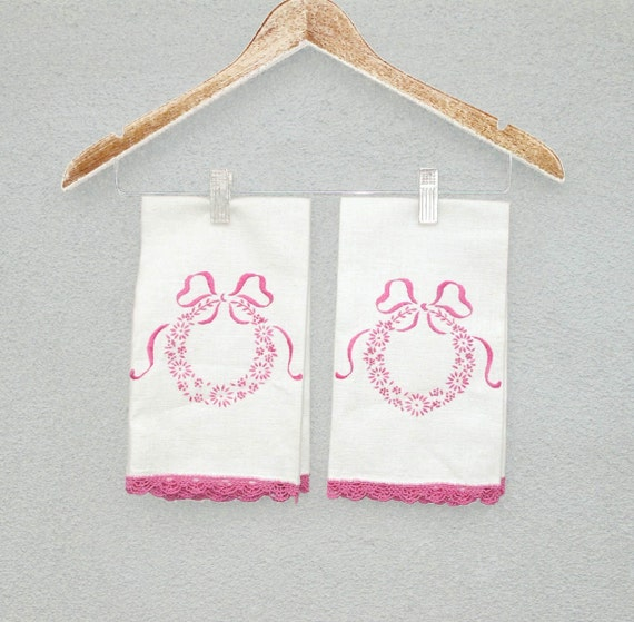 Embroidered Linen Embroidery and Crochet Linen Tea Towels