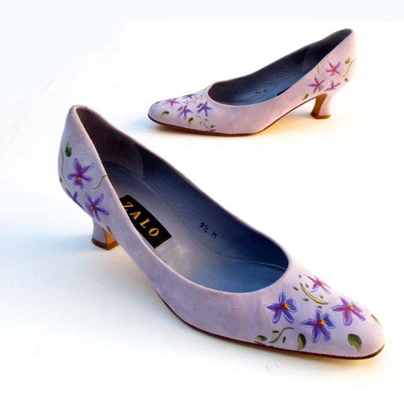 Vintage Pumps Lavender Purple suede leather Hand Painted ZALO 9 1/2 M