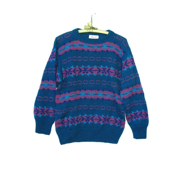 80s Vintage Sweater Hand Knit Wool Pullover M Adult Vegetable Dyes Striped