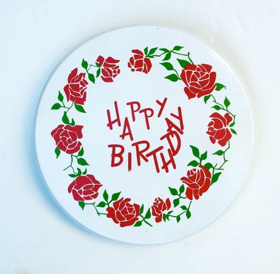 50s Vintage Musical Cake Cupcake Plate .. Music Box Sound Happy Birthday