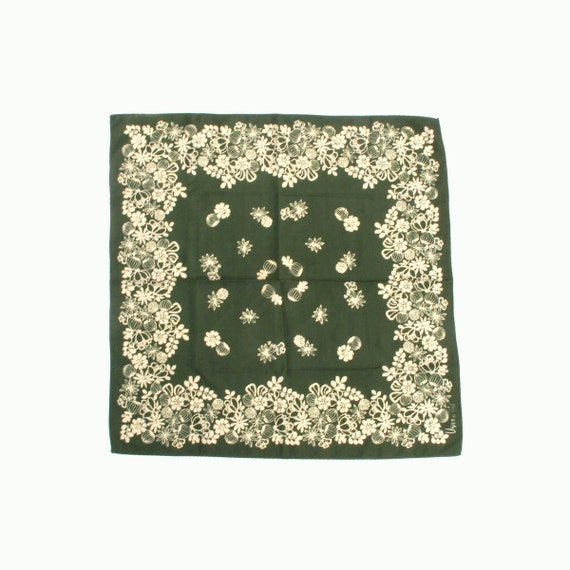 Vera Scarf 21 inch square Green and Beige Ladybug