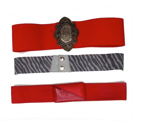 70s Vintage Stretch Belts One size fits Most set of Three, Vintage Belts Red Zebra Print Stretchy