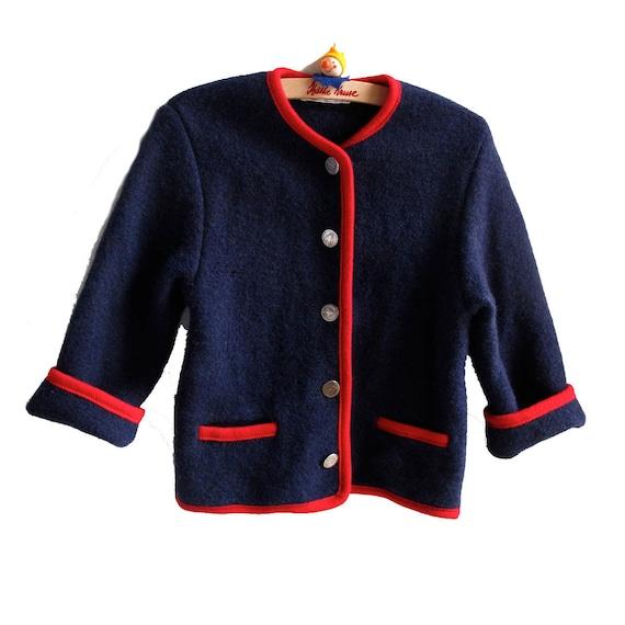 Vintage Boiled Wool Sweater Jacket Kids 7 8 10 Navy Blue Red Jacadi Austria