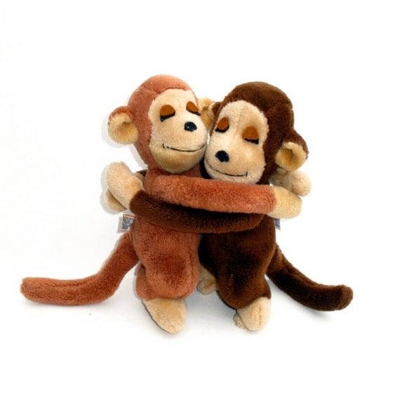 70s Vintage Hugging Monkeys Dakin 1975