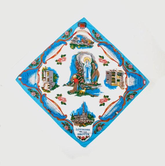 Lourdes Souvenir Scarf Polyester 30 inch square