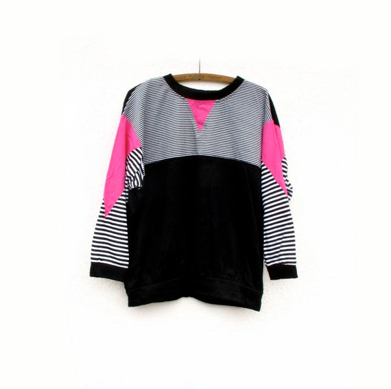 80s Patchwork Knit top Neon Pink and Black White Stripes one size fits most 10 12 14 16
