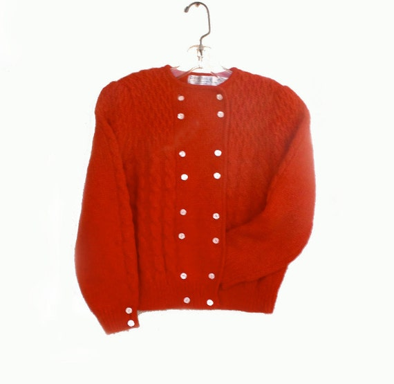Vintage Robert Scott Red Wool Cardigan Sweater Cropped Gathered Sleeves Small Med 38