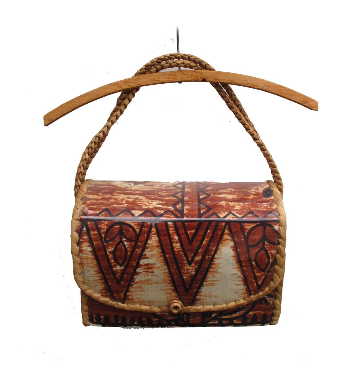 Woven Basket Purse : Vintage boho woven basket purse cloth and straw vinyl covered