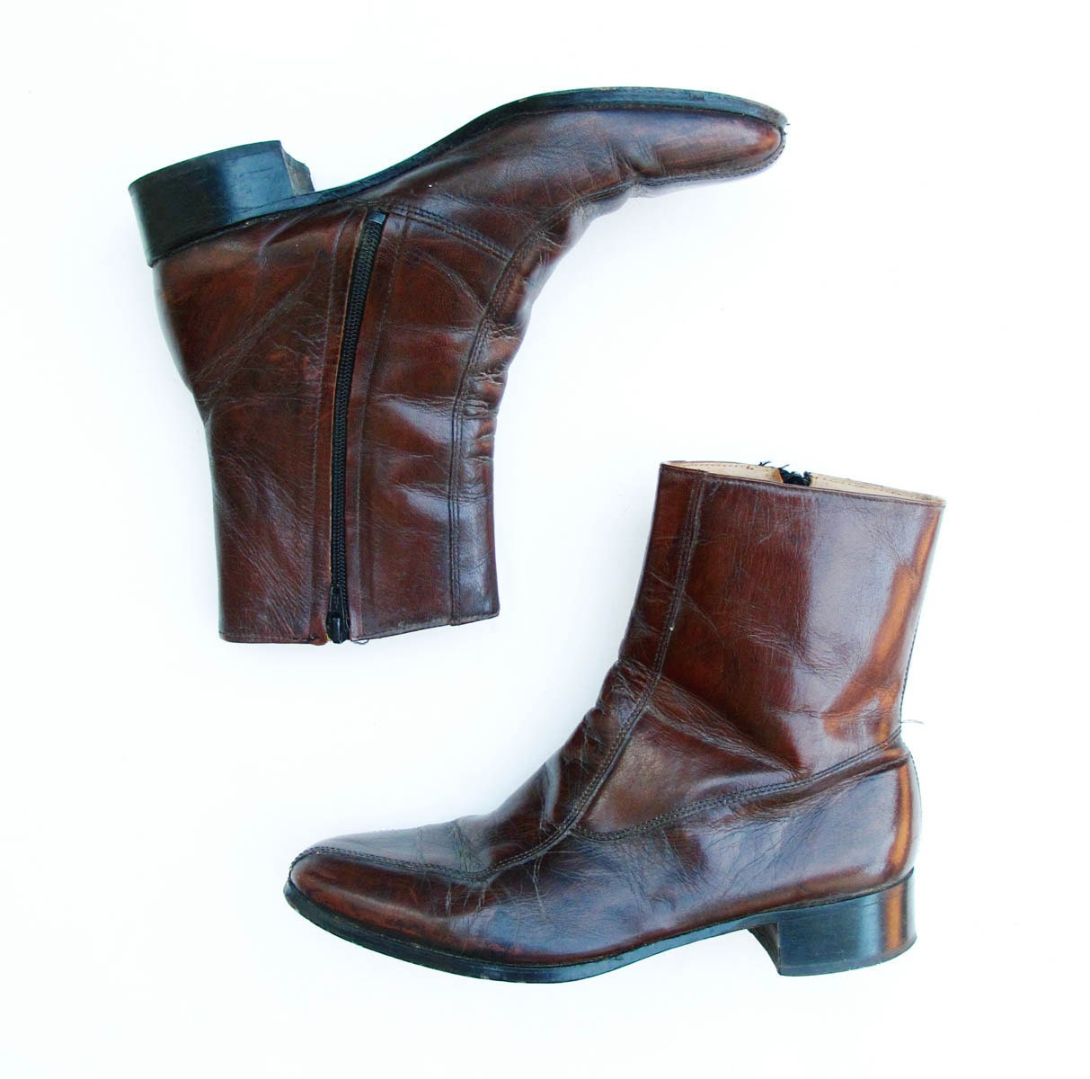 70s vintage boots mens 9 d leather ankle boot mod