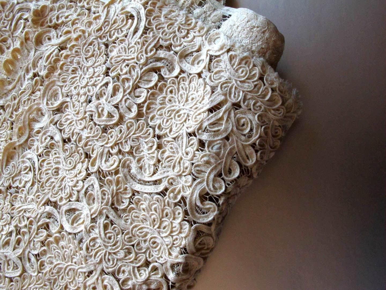 Vintage bridal lace fabric yardage for Bridal fabric