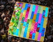 Brightly Striped, Patchwork, Mini-Quilt