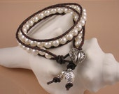 Leather and Fresh Water Pearl DOUBLE Wrap Bracelet- Soft White Pearls and Chocolate Leather