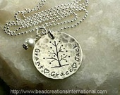 Tree of Life with Three Names Hand Stamped Necklace