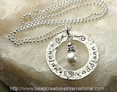 Personalized Sterling Silver Hand Stamped Necklace with 2 Names with a Hammered Lightly Tarnish Look