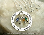 Hand Stamped Necklace with 4 Names with 4 Crystals