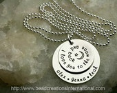 Hand Stamped I Love You To The Moon and Back with 3 Names Necklace