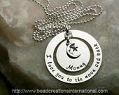 NEW DESIGN I Love You To The Moon and Back Mommy and Charm Hand Stamped Necklace
