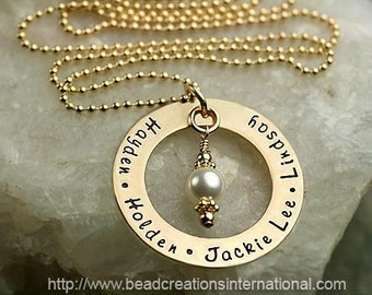 Gold Filled Hand Stamped Necklace with 5 Names - Personalized - Keepsake