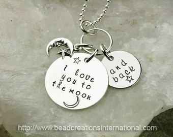 I Love You To The Moon and Back Hand Stamped Necklace with Moon and Star Charm