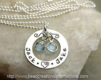 Sterling Silver Personalized Hand Stamped Necklace with 2 Names and 2 Custom Round Dangles