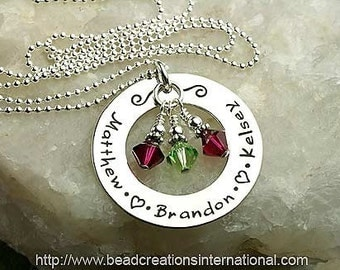Personalized Hand Stamped Necklace with 3 Names and 3 Crystal or Pearls