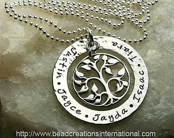 Our Family Tree of Five with a Hammered Look Hand Stamped Necklace