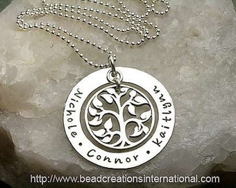 Hand Stamped Necklace - Our Family Tree with Three Names - Sterling Silver
