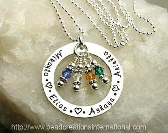 Hand Stamped Mommy Necklace with 4 Names with 4 Birthstone Crystals - Sterling Silver