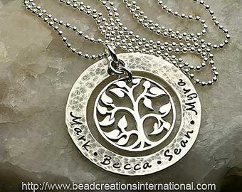 NEW Design Our Family Tree of Four w/ a Hammered and Tarnished Look Sterling Silver Hand Stamped Necklace