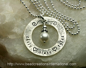 Personalized Hand Stamped Necklace with 3 Names with a Hammered Lightly Tarnish Look
