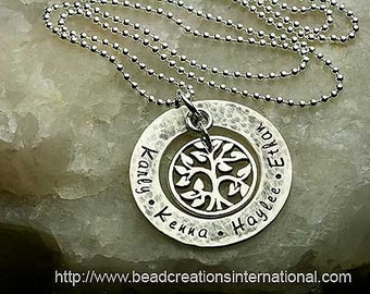 NEW EXTRA SMALL Our Family Tree of Four With a Hammered and Slighly Tarnish Look Hand Stamped Necklace