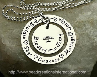 NEW Design Family of Seven Hand Stamped Necklace