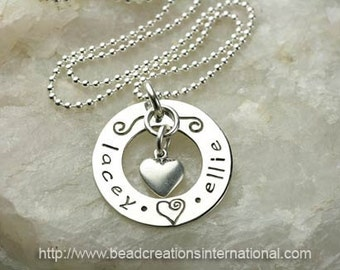 Personalized Hand Stamped Necklace with 2 Names and a Heart Charm - Sterling Silver - Mommy Necklace